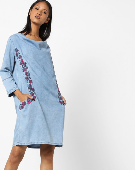 Cowl-Neck Dress With Embroidery By AJIO ( Lightblue )