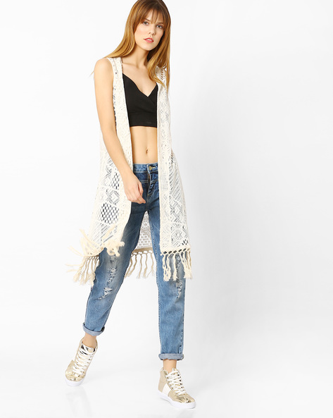 Crochet Shrug With Tassels By Global Desi ( Natural )