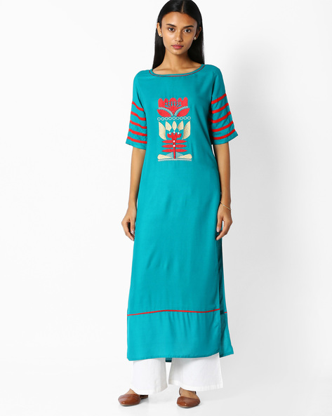 Straight Kurta With Embroidery By Jaipur Kurti ( Turquoise )