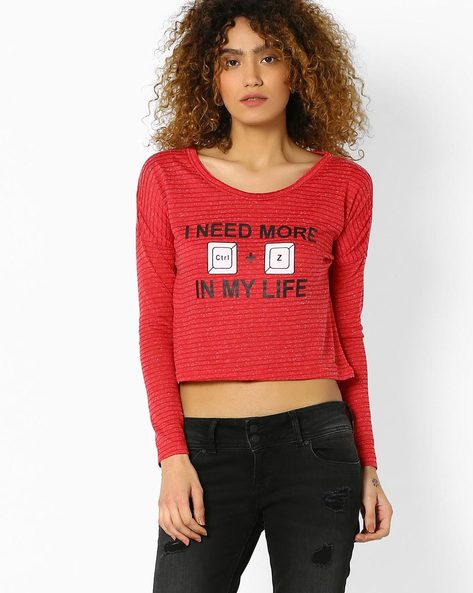 Printed Crop Top By DNM X ( Red )