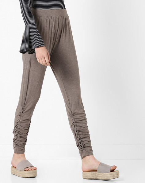 Mid-Rise Track Pants With Gathers By AJIO ( Brown )