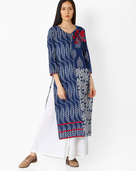 Printed Straight Kurta By Indian Ink ( Indigo )