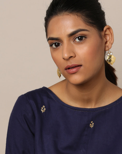 Gold-Plated Filigree Pearl Stud Earrings By Rubans ( Gold )