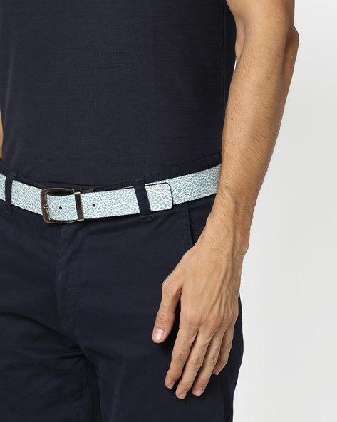 Genuine Leather Textured Belt By ALVARO CASTAGNINO ( Black )