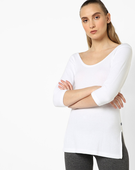 Scoop-Neck Thermal Top By HANES ( Ecru )
