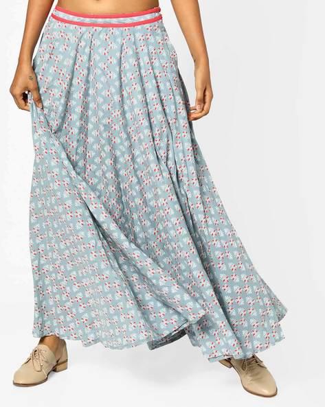 Printed Flared Maxi Skirt By AJIO ( Grey )