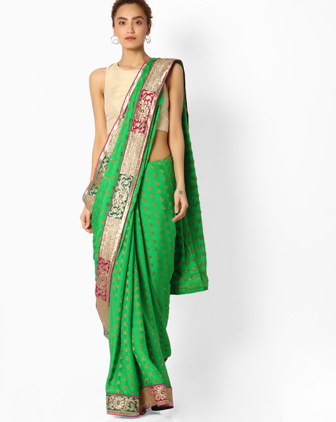 Embroidered Saree With Contrast Border By Majestic Silk ( Green )