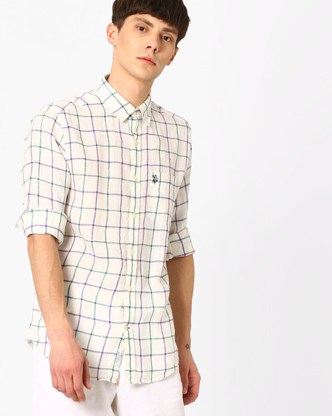 Checked Linen Shirt With Patch Pocket By US POLO ( White )