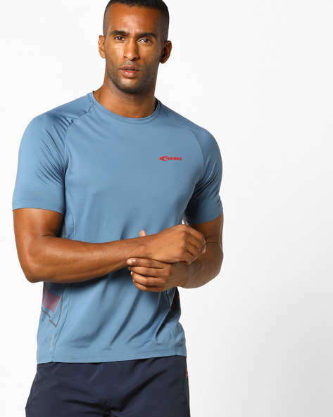 Crew-Neck T-shirt With QuickDry By PERFORMAX ( Greymelange )