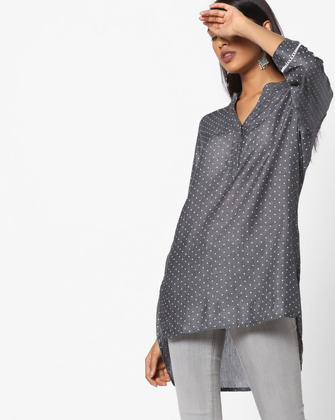 Polka-Dot Print Tunic With High-Low Hemline By Arah ( Grey )