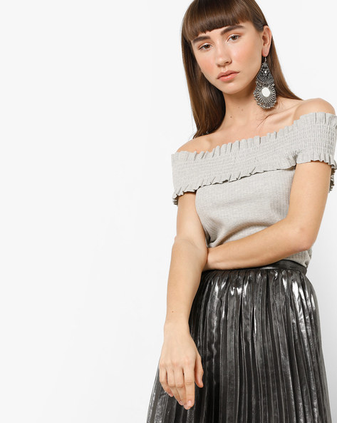 Smocked Off-Shoulder Top By AJIO ( Lightgrey )
