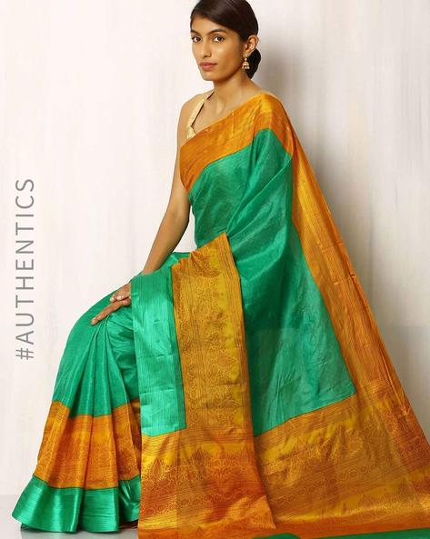 Half & Half Printed Pure Silk Saree By Rudrakaashe-MSU ( Green )