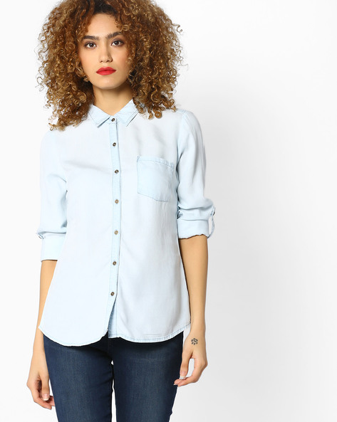 Shirt With Roll-Tab Sleeves By BOSSINI ( Lightblue )