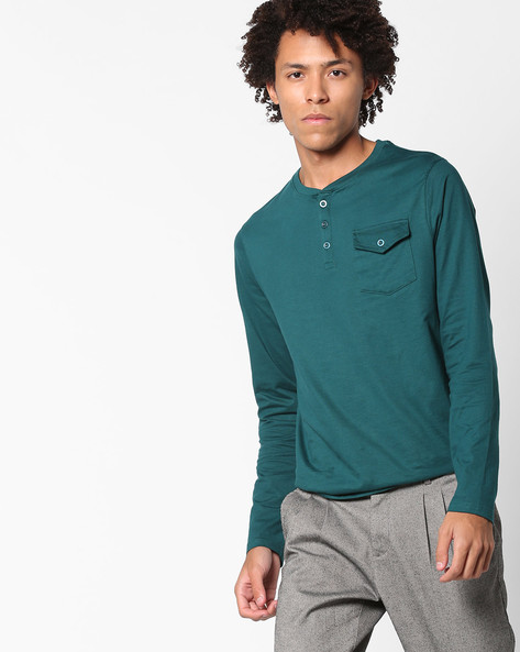 Henley T-shirt With Flap Pocket By AJIO ( Teal )