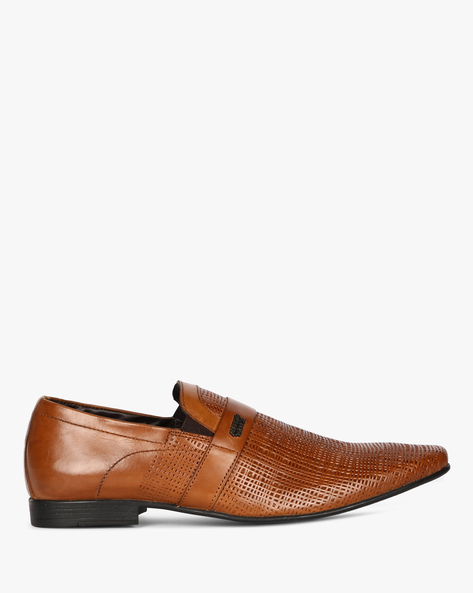 Genuine Leather Slip-On Formal Shoes By ALBERTO TORRESI ( Tan )