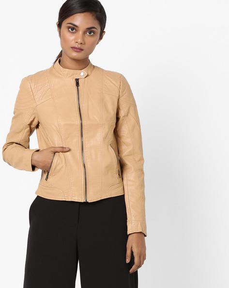 Front-Zip Collared Jacket By Vero Moda ( Blacktan )