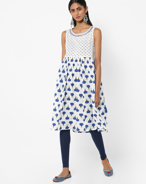 Printed A-line Kurta With Tassel Tie-Up By AJIO ( Blue )