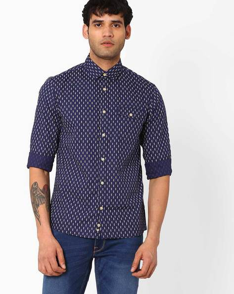 Printed Regular Fit Cotton Shirt By Celio ( Blue )