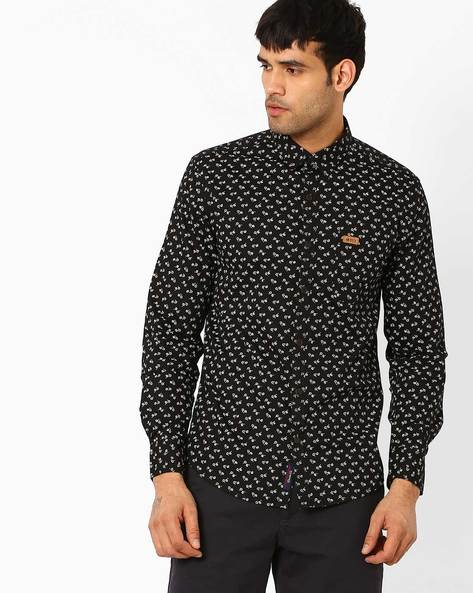 Floral Print Slim Fit Shirt By US POLO ( Black )