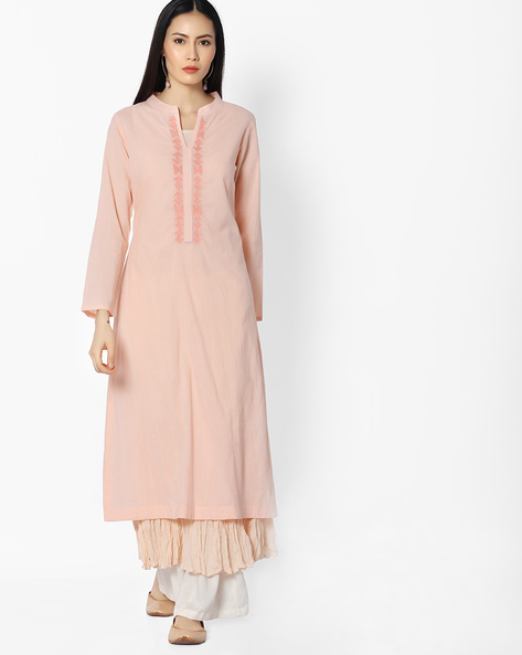 Straight Kurta With Embroidery By Khimsariya ( Pink )