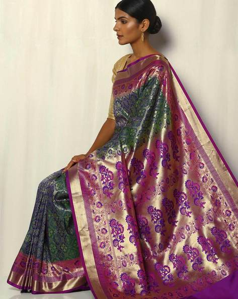 Patola Style Brocade South Silk Saree By Pretty Woman ( Green ) - 460092251001