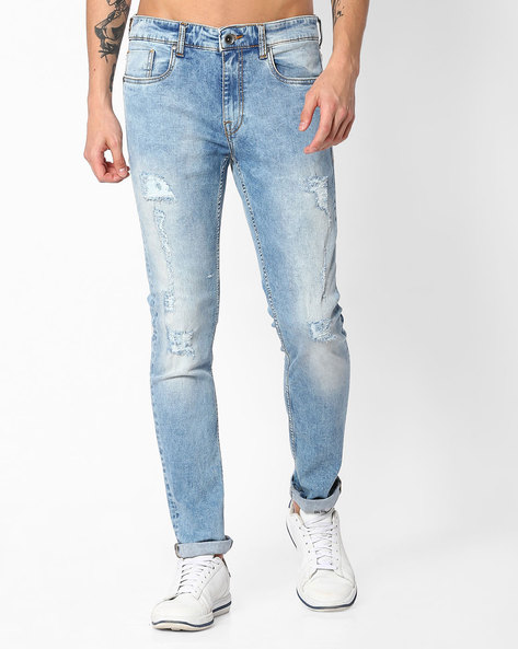 Heavily Washed Distressed Jeans By AJIO ( Lightblue )