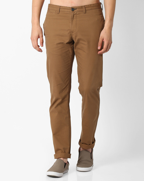 Mid-Rise Slim Fit Chinos By NETPLAY ( Khaki )