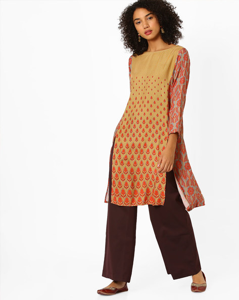 Printed Kurta With Box Pleat By Global Desi ( Grey )