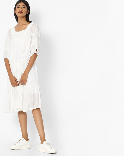 Fit & Flare Dress With Drawstring Waist By Tokyo Talkies ( White )