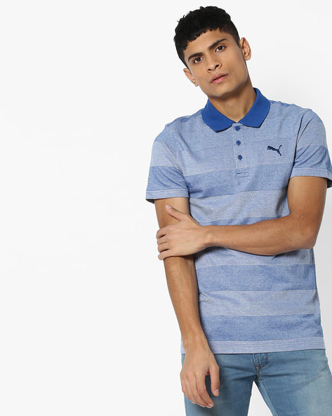 Rugby Striped Polo-Neck T-shirt By Puma ( Blue )