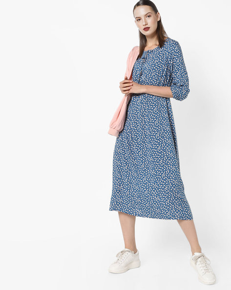 Printed A-line Midi Dress By AJIO ( Lightblue )