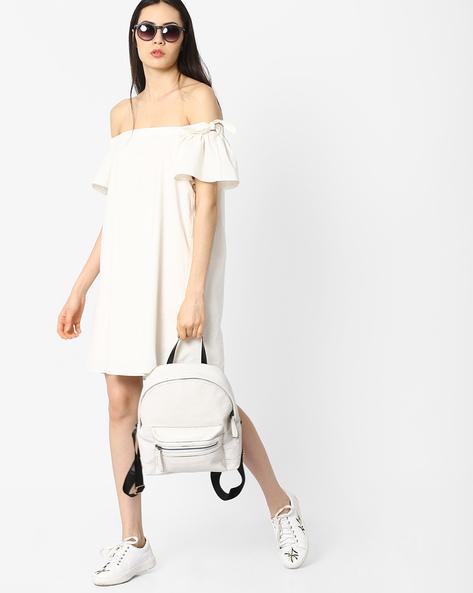 Off-Shoulder Shift Dress By AJIO ( White )