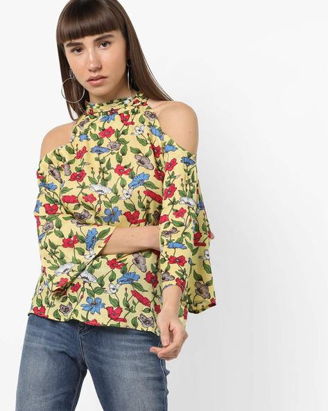 Cold-Shoulder Floral Print High-Neck Top By CODE By Lifestyle ( Yellow )