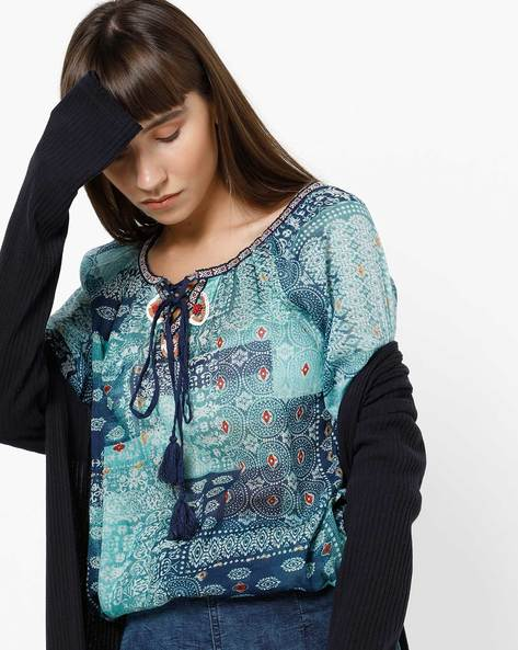 Printed Tunic With Front Tie-Up By COLOUR ME ( Multi )