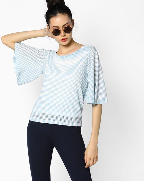Self-Designed Top With Flared Sleeves By CODE By Lifestyle ( Aqua )