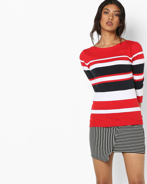 Striped Sweater With Back Deep V-neck By UNITED COLORS OF BENETTON ( Multi )