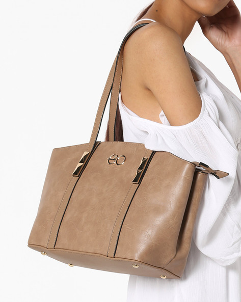 Textured Tote Bag With Metal Studs By E2O ( Taupe )