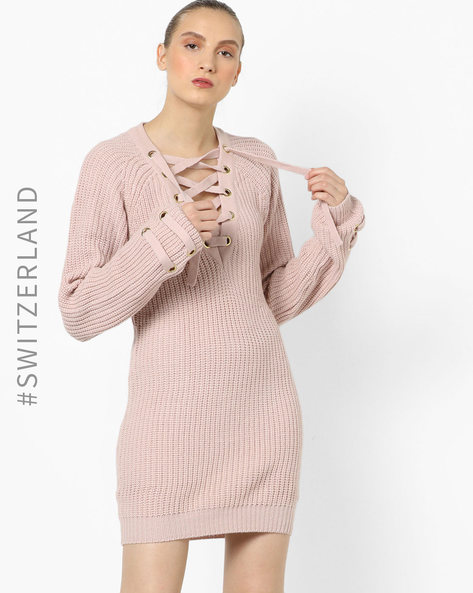 Pullover With Lace-Up Neckline By TALLY WEiJL ( Pink )