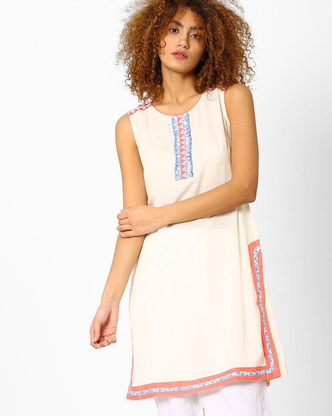 Sleeveless Cotton Kurta By AJIO ( Offwhite )