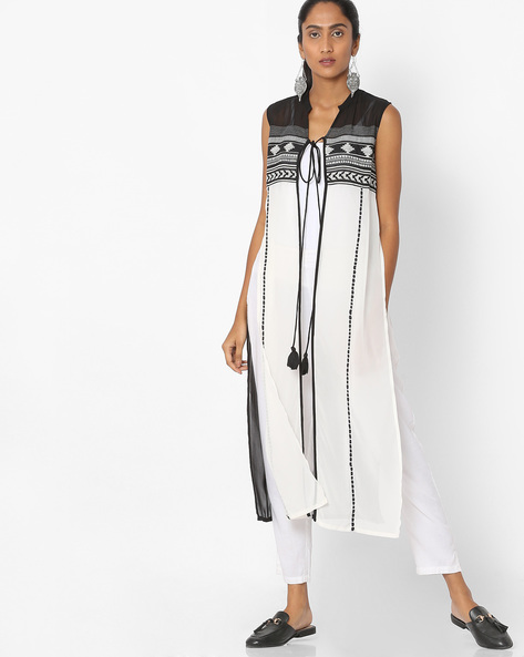 Printed Sheer Gilet With Tasselled Tie-Up By W ( White )