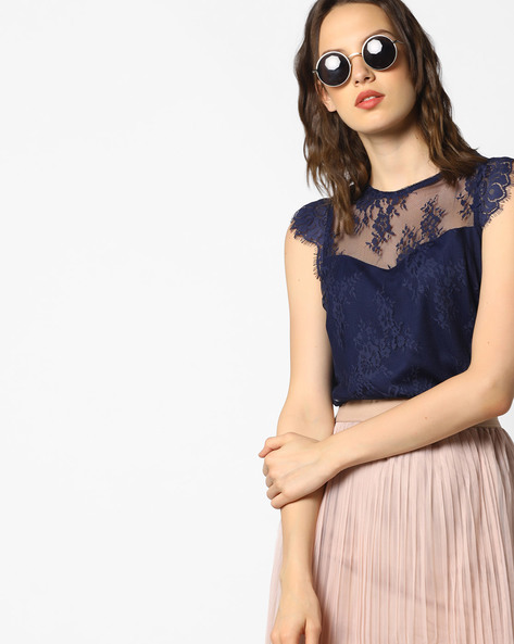 Lace Top With Eyelash Trims By AJIO ( Navyblue )