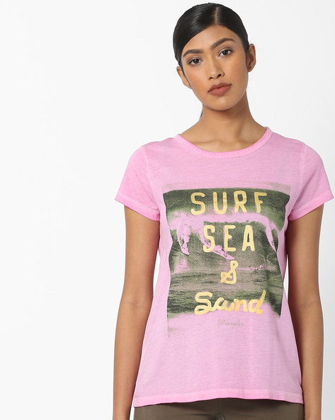 Graphic Print Crew-Neck T-shirt By WRANGLER ( Pink )