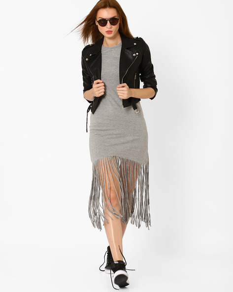 Slim Fit Dress With Fringes By RIO ( Medgrey )