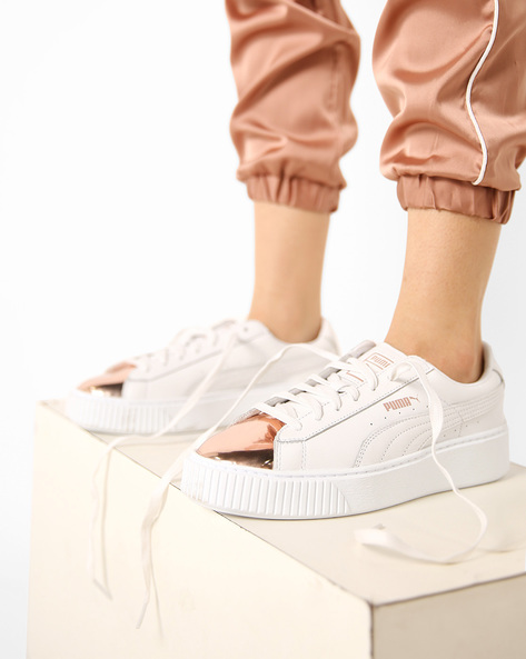 Casual Shoes With Metallic Toe-Cap By Puma ( Rosegold )
