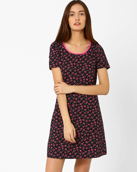 Printed Nightdress By PrettySecrets ( Black ) - 460020237001