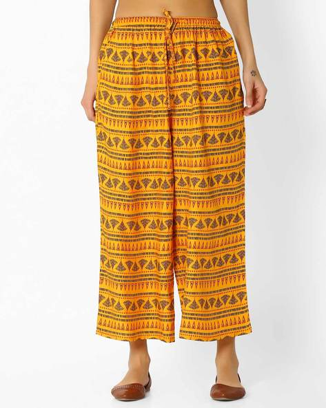Printed Culottes With Elasticated Waist By Global Desi ( Mustard )