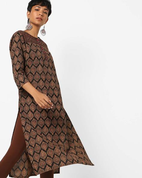 Block Print Kurta With Patterned Yoke By AJIO ( Black )