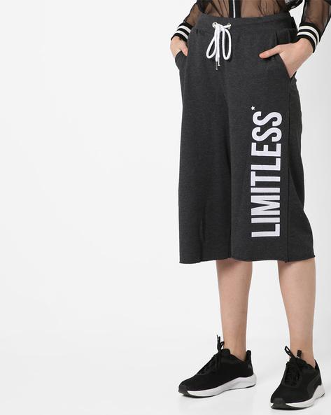 Typographic Print Track Pants With Drawstring Waist By AJIO ( Darkgrey )