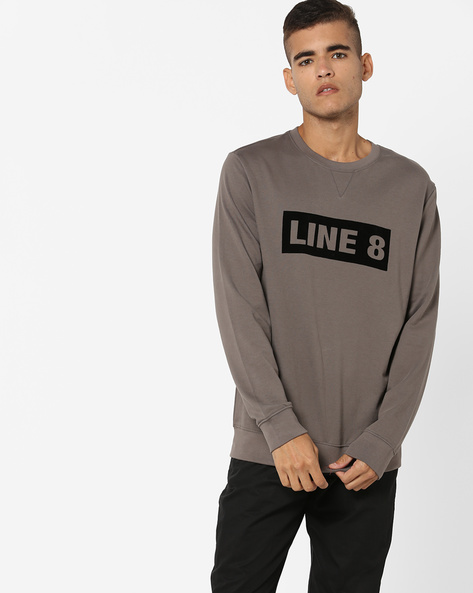 Typographic Print Crew-Neck Sweatshirt By LEVIS ( Grey )