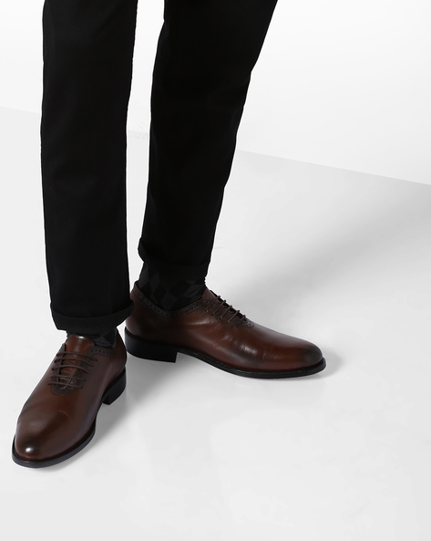 Genuine Leather Lace-Up Shoes By TEAKWOOD LEATHERS ( Brown )